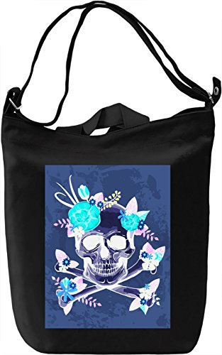 Skull And Flowers Borsa Giornaliera Canvas Canvas Day Bag| 100% Premium Cotton Canvas| DTG Printing|
