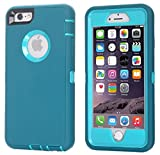 Ai-case Built-in Screen Protector Tough 4 in1 Rugged Shorkproof Cover With Kickstand for iPhone 6/6S Plus, Blue