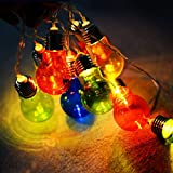 Costway 10-20-30 LED Light String Multicoloured Bulb Warm Light Globe Lamp Christmas Party Wedding Decorative Lights Home Lighting (Multi Coloured-10)