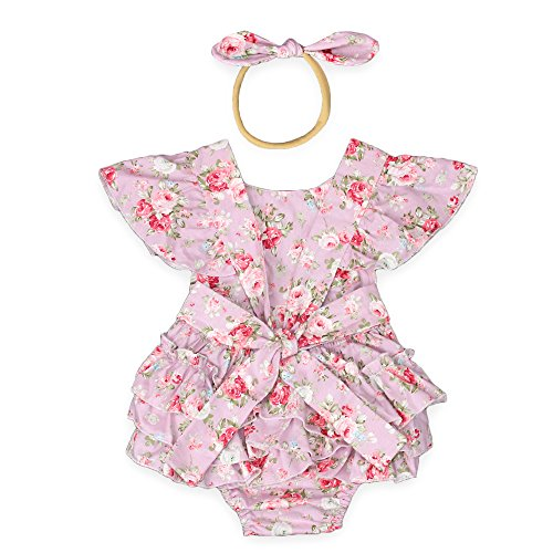 Luckikikids Baby Girls Cotton Vintage Floral Ruffle Rompers Clothing Headband Set (L(12-24M), Pink Floral)