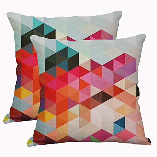 YeeJu Set Of 2 Geometric Decorative Throw Pillow Covers Square Cotton Linen Cushion Covers Outdoor Sofa Home Pillow Covers 20x20 Inch