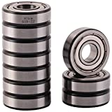 XiKe 10 Pack 609ZZ Precision Bearings 9x24x7mm, Rotate Quiet High Speed and Durable, Double Shield and Pre-Lubricated, Deep Groove Ball Bearings.