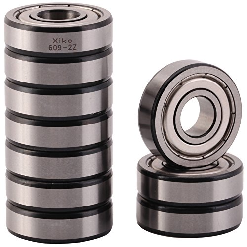(XiKe 10 Pack 609ZZ Precision Bearings 9x24x7mm, Rotate Quiet High Speed and Durable, Double Shield and Pre-Lubricated, Deep Groove Ball)