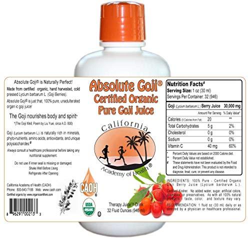Absolute Goji - Pure Organic Goji Juice from CAOH® (3-32 oz Bottles) (Pure Wildharvested Goji Juice)