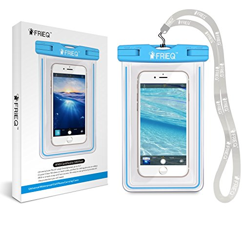 FRiEQ Universal Waterproof Case for Outdoor Activities - Waterproof bag for Apple iPhone 6S, 6S Plus, 6, 6 Plus, 5S, 5C, 5; Galaxy S6, S4, S3; HTC One X, Galaxy Note 3 (Blue)