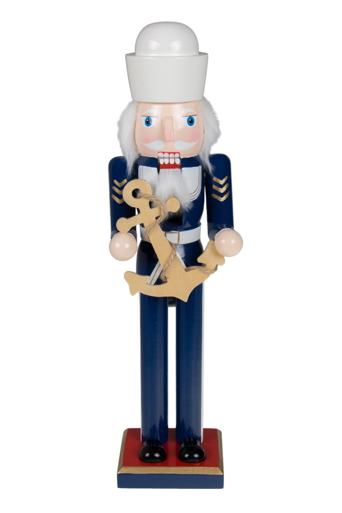"""Clever Creations Traditional Wooden Sailor Nutcracker Decoration Blue and White Uniform   Carrying Ship's Anchor   Premium Festive Christmas Decor   15"""" Tall Perfect for Shelves & Tables"""