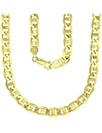 14K Yellow Gold Solid 7mm-10mm Concave Mariner Link Chain with Lobster Claw Clasp | Italian Gold Chain | Mariner Chain for Men and Women