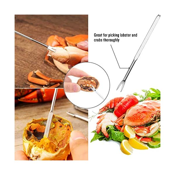 HIWARE Lobster Crackers and Picks Set 10-Piece Crab Leg Cracker Tools