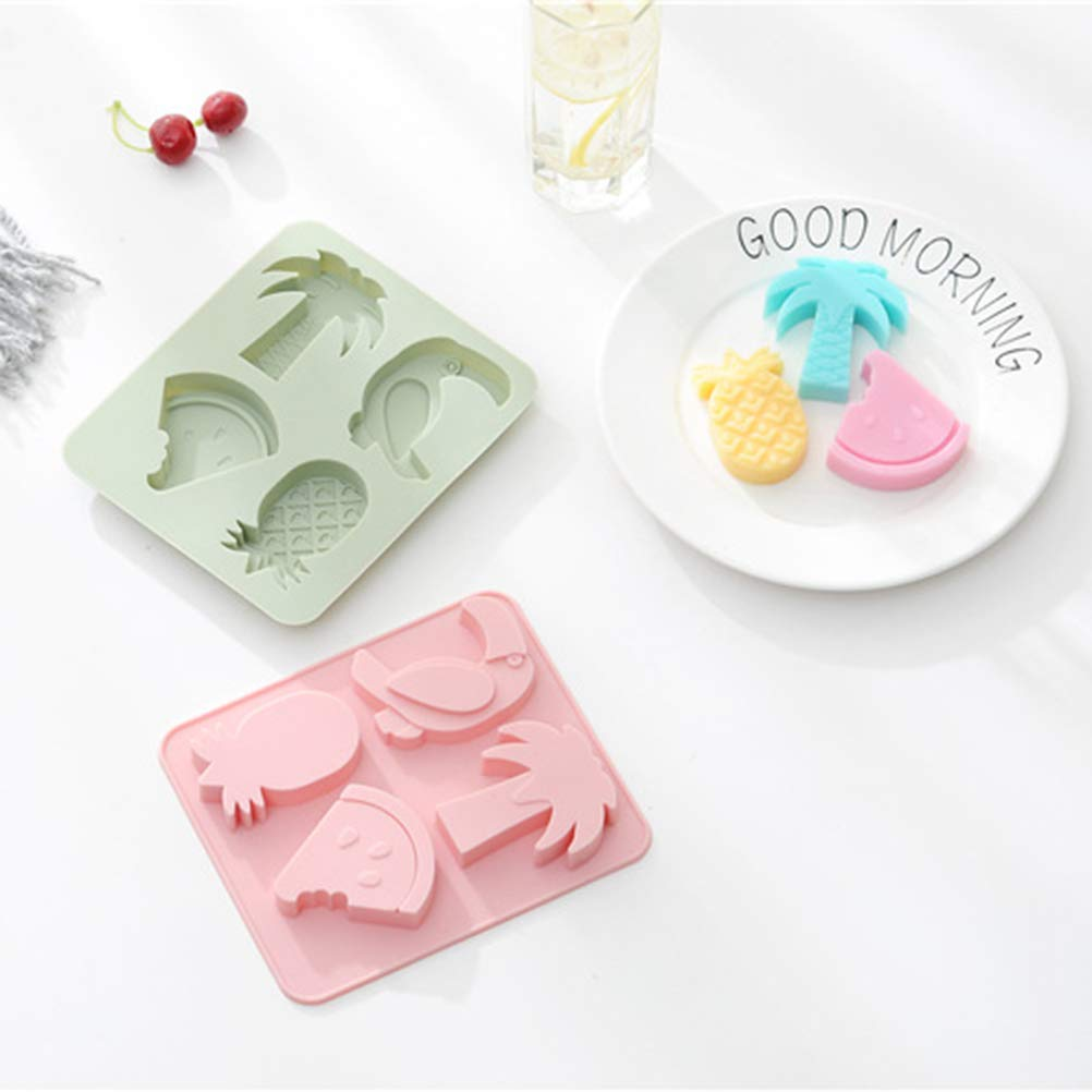 BESTONZON 4PCS Tropical Coconut Palm Cake Molds Cartoon Bird Candy Molds Lovely Fruit Chocolate Molds Silicone Ice Molds for Baking Cake Decor Random Color