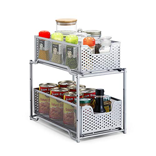 Simple Trending Stackable 2-Tier Under Sink Cabinet Organizer with Sliding Storage Drawer, Silver