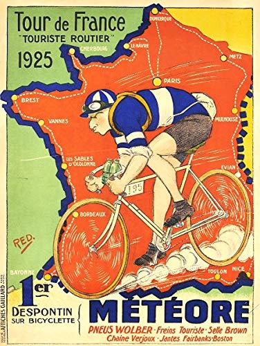 (WholesaleSarong Tour de France 1925 Retro Cycling Bike ads Poster Wall Art Prints Indoor Wall Decor)