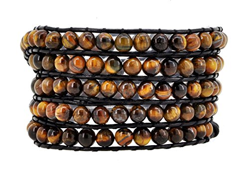 - Mandala Crafts Simulated Tiger Eye Stone Beads Love Heart Wrap Leather Bracelet (Dark Leather Cord)
