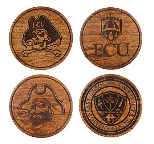 ECU Coasters Variety Pack (4-Pack) Made in NC Cherry Wood + Water Resistant Seal ()