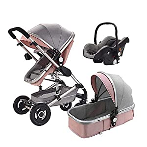 LZTET Baby Stroller 3 in 1 Travel System High Landscape Pram Foldable Two-Way Pushchair with Car Safety Seat Applicable Age 0-3 Years Old