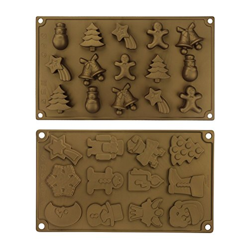 Beasea 2pcs Silicone Molds Christmas Decoration - Silicone Chocolate Candy Molds Handmade Sugar Paste Cake Toppers Cupcake Decorations Christmas Gifts (Halloween Marzipan Decorations)