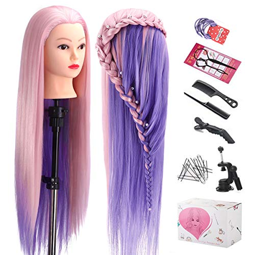 "Mannequin Head with Hair, TopDirect 29"" Hair Mannequin Manikin Head Hair Practice Cosmetology Hair Doll Head Styling Hairdressing Training Braiding Heads with Clamp Holder and Tools"