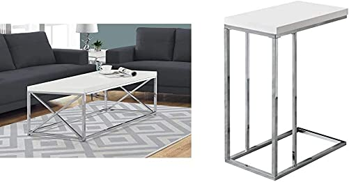 Monarch Specialties Modern Coffee Table for Living Room Center Table with Metal Frame, 44 Inch L, Glossy White Chrome 3008, Chrome Accent Metal Base C Table, White