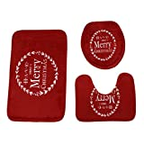 Euone Merry Christmas Pedestal Rug + Lid Toilet Cover + Bath Mat 3PC/Set Home Decoration (F)