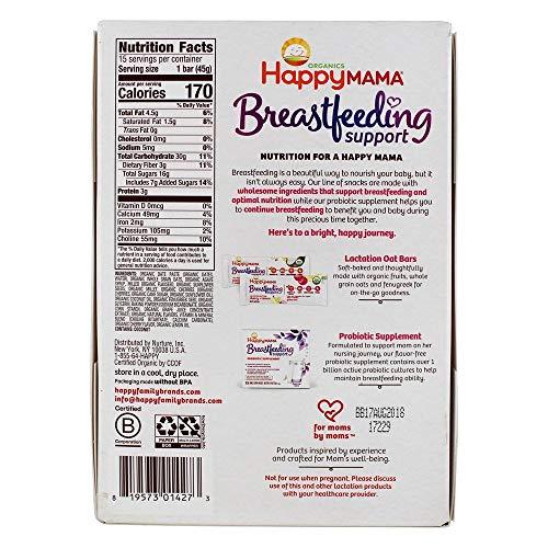 Happy Family - Happy Mama Organic Breastfeeding Support Lactation Oat Bar Cherry + Lemon - 15 Bars by Happy Family (Image #1)