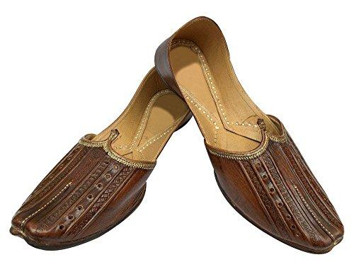 Pantofole Stile Jute In Pelle Stile N Uomo Mojari Khussa Handmade India Style Punjabi