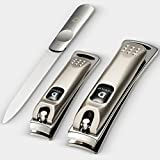 Nail Clippers set, Fingernail and Toenail Clipper, Sharp Nail Cutter Stainless Steel Set of 2 + Bonus Nail File