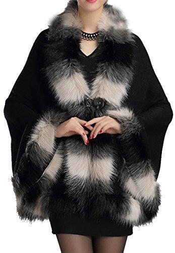 Manteau Cap fausse Luxe Helan femmes fourrure en Chaud Cape Style Noir wxBAIYzq