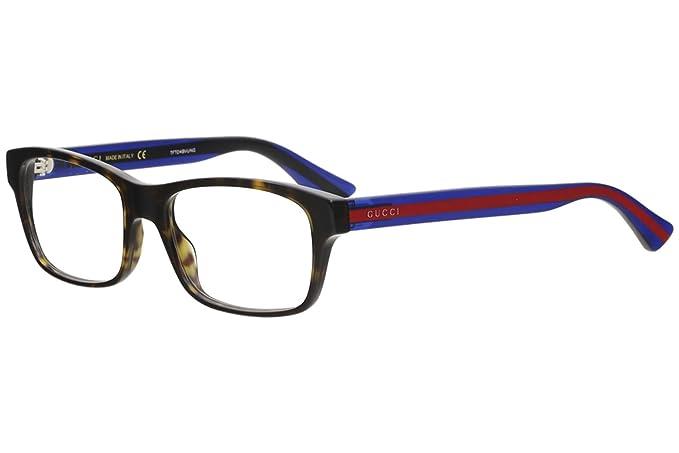 dad01824b831 Amazon.com: Gucci GG 0006O 007 Black Plastic Rectangle Eyeglasses ...