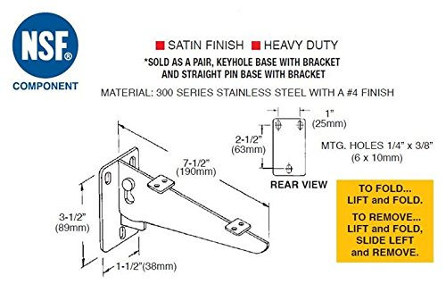 Stainless Steel Fold Down Removable Shelf Bracket