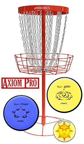 Axiom Pro Disc Golf Basket (Red) + 2 Discs + Sun King Sticker by Axiom