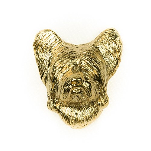 SKYE TERRIER Made in U.K Artistic Style Dog Clutch Lapel Pin Collection 22ct Gold Plated