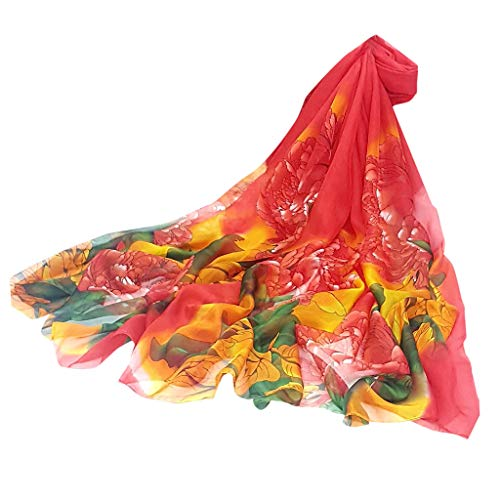 HYIRI Square Satin Women Ladies Peony Scarf Sunscreen shawl Infinity Wrap Silk Shawl Scarves
