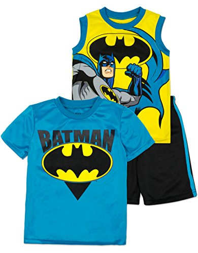Batman Outfit For Boys (Batman Shirt, Tank Top and Shorts Set - Toddler/Little Boys, 3T)