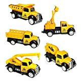 DESONG Pull Back and Go Truck Friction Mini Engineering Vehicles Car Toy for 3 year old,5pcs Set