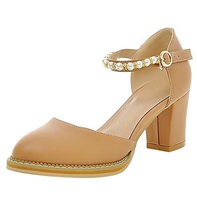 TAOFFEN Damen Closed Toe Ankle Strap Sandalen Pumps Schuhe