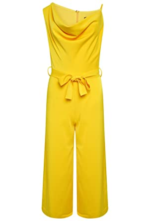 Lavish Alice Women s Cowl Neck Culotte Jumpsuit - Yellow (14 ... 01da09e317