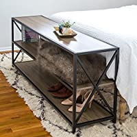 New 60 Inch Wide X-Frame Sofa Table in Driftwood Finish