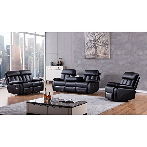 American Eagle Furniture 3 Piece Dunbar Collection Complete Faux Leather Reclining Living Room Sofa Set, Black