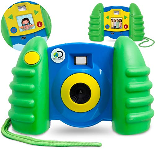 DISCOVERY KIDS USB Compatible Digital Camera, Comes with 1.5' Color LCD Screen, Captures Photos and 50 Second Long Videos, 16 MB Storage for Up to 120 Images, Transfer Files W/Cable, Blue/Green