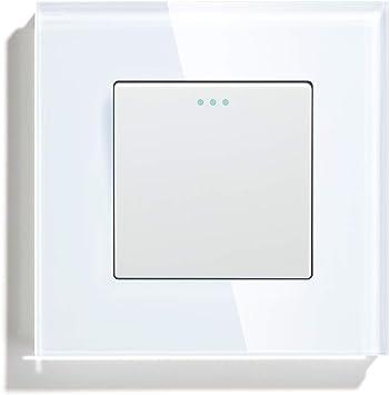 BSEED Interruptor de luz Interruptor de pared con Botón Pulsador Cruzado 1 Gang 3 Vías Panel de Vidrio 10A sin Tornillos Interruptor de Palanca Conmutable Blanco: Amazon.es: Bricolaje y herramientas