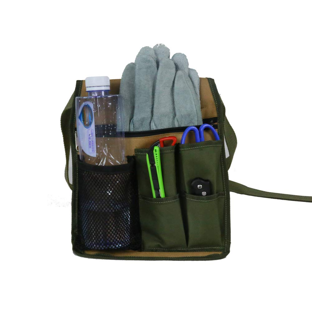 Utiltiy Garden Tool Holder, Garden Tool Belt, Garden Apron Tool Pouch Organizer with 6 Multiple Pockets and Adjustable Belt for Gardeners, Farmers, Engineers HGJ61-A HANSHI