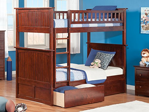 Atlantic Furniture Nantucket Bunk Bed with 2 Flat Panel Bed Drawers, Twin Over Twin, Antique (Bedroom Maple Footboard)