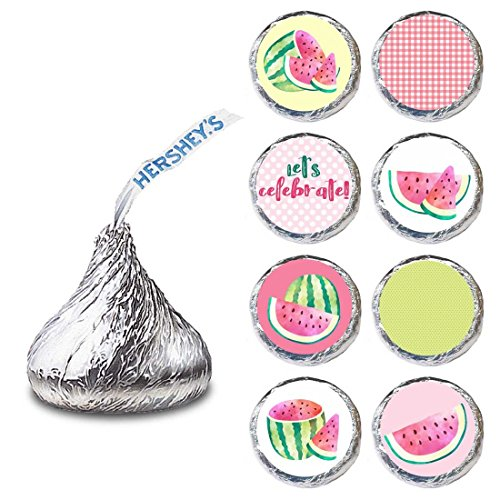 Hershey Bar Label - Watermelon Label for HERSHEY'S KISSES® chocolates - Summer Envelope Seal Candy Stickers - Set of 240