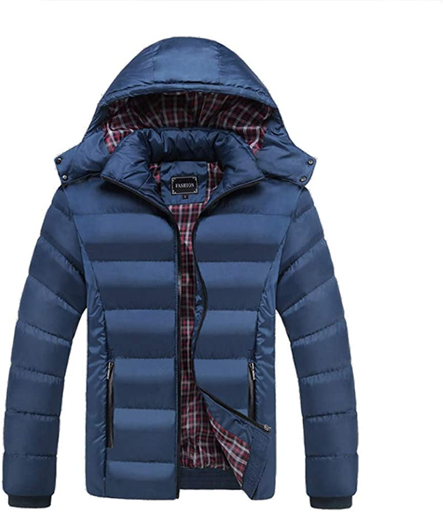 ouxiuli Mens Winter Thicken Wool Lamb Lined Down Jacket Coat With Hoodie