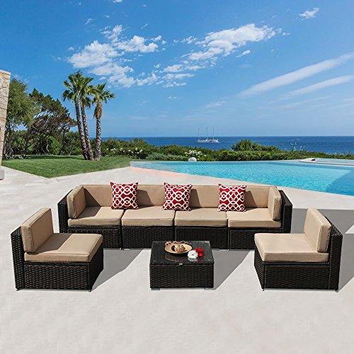 Discount Wicker Furniture - PATIOROMA 7 Piece Patio Conversation Set, Outdoor PE Wicker Rattan Sectional Furniture Sofa Set with Beige Seat and Back Cushions, Steel Frame, Espresso Brown(Three Red Throw Pillow Not Included)