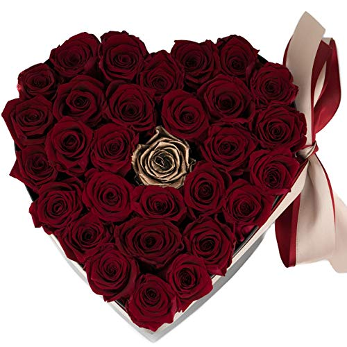 Preserved Real Roses in a box,Roses in Heart Box, Roses that last a year, Red and Metallic Gold Rose Bouquet, Valentines day gifts for her, Infinity Rose Bouquet,Engagement Bouquet ()