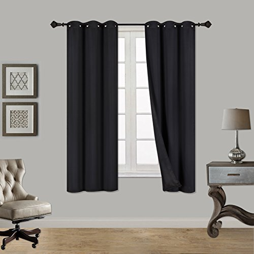 Rama Rose Window Treatment Room Darkening Thermal Insulated Solid Blackout Curtain with Grommets For Bedroom,Living Room, 52