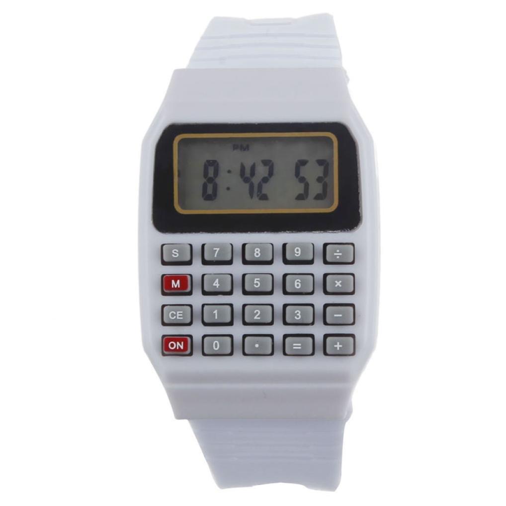 RIUDA Unsex Kids Silicone Multi-Purpose Date Time Electronic Wrist Calculator Watch White