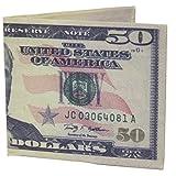 W.I.I Big Bucks Novelty Fifty Dollar Bill Large Printed Bi-Fold Wallet