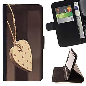 Devil Case- Estilo PU billetera de cuero del soporte del tirš®n [solapa de cierre] Cubierta FOR HTC One M7- Lover Heart