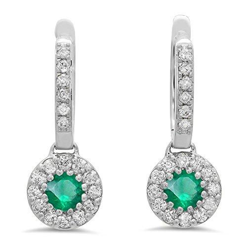 Dazzlingrock Collection 14K Round Emerald & White Diamond Ladies Circle Halo Style Dangling Drop Earrings, White ()